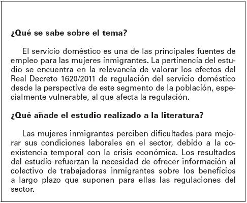 Sa de p blica percepci n de las trabajadoras inmigrantes for Agencia de empleo madrid servicio domestico